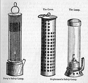 Safety lamp - Early form of Stephenson lamp shown with a Davy lamp on the left
