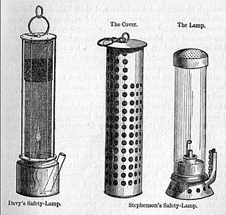 George Stephenson - Stephenson's safety lamp shown with Davy's lamp on the left
