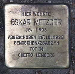 Photo of Oskar Metzger brass plaque