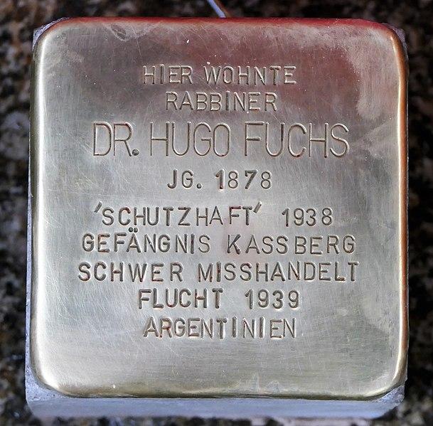 Datei:Stolperstein für Dr. Hugo Fuchs, Agricolastrasse 15, Chemnitz (1).JPG