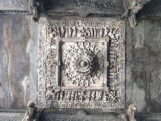 Vellore Fort - Stone carving of the ceiling with intricate details