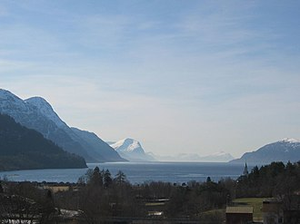 Storfjorden (Sunnmøre) - View of outer section of the fjord, looking west