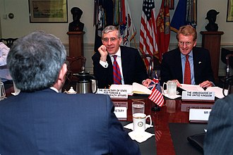 Jack Straw - Straw meets with US Deputy Secretary of Defence Paul Wolfowitz and UK Ambassador to the US Christopher Meyer in 2001.