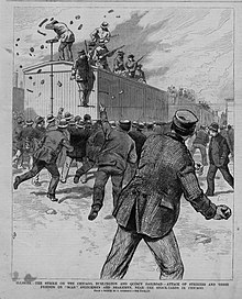 Strikers attacking strikebreakers on train during the Brulington 1888.jpg