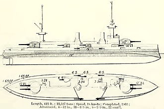 French battleship Suffren - Plan and right elevation from Brassey's Naval Annual 1912