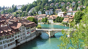 Old City (Bern) - The Aare wraps around the Old City of Bern, pictured here is the old stone bridge at Nydegg