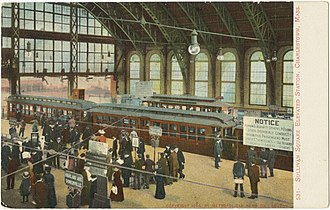 Sullivan Square station - Interior of the elevated station in 1905