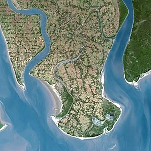 Sundarbans - SPOT satellite image of Sundarbans, released by CNES