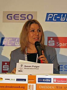 Susan Polgar at Chess Olympiad Press Conference 2008-11-15.jpg