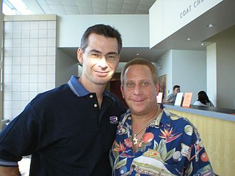 U.S. Open 9-Ball Championships - U.S. Open promoter Barry Behrman (right) with Rob Sykora of Billiard Club Network (left) at the 2004 event.