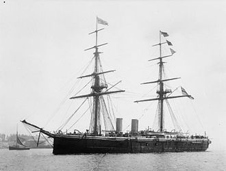 Trysail - The ironclad HMS Temeraire. Her trysail yards can be seen behind the masts.
