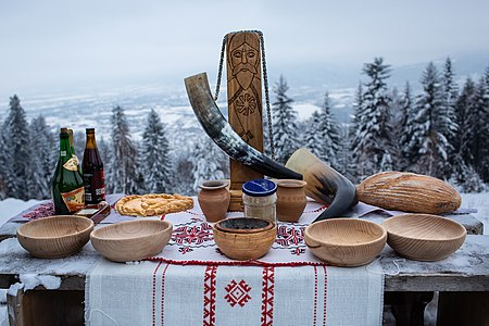 A Slavic altair during the festival of Koliada, celebrated in south Poland