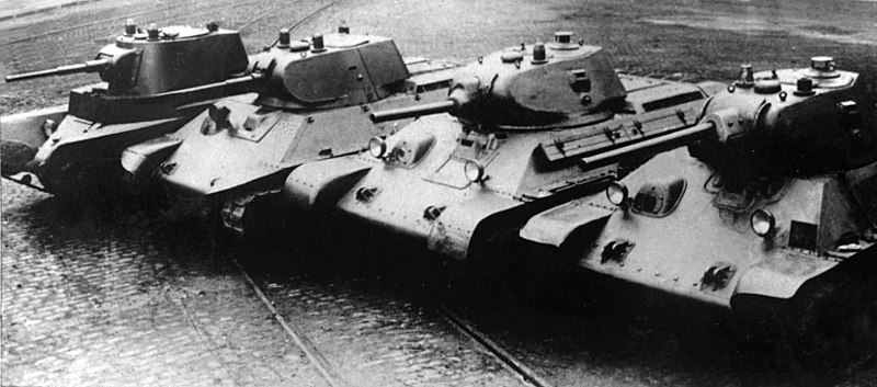 Links in the evolution of the T-34, left to right: BT-7M, A-20, T-34 mod. 1940 (L-11), T-34 mod. 1941 (F-34).