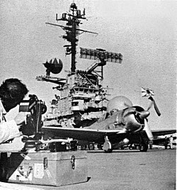 T-6 Texan Zero taxiing on USS Yorktown (CVS-10) 1968.jpg