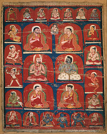 painting of six Buddhist teachers on red background, surrounded by smaller figures in frame