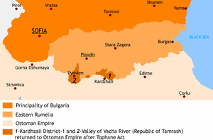 Tophane Agreement - Areas surrendered to the Ottoman Empire according to the Tophane agreement.