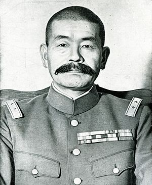 Shizuichi Tanaka - General Shizuichi Tanaka in a Showa 5 type or M90 uniform and bearing the epaulette of lieutenant-general. Thus, this photo was likely taken between July 1938 and Sep 1943