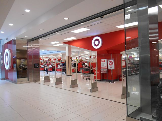 Close-up of the front entrance to a Target store