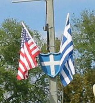 Tarpon Springs, Florida - American and Greek flags flying in Tarpon Springs.