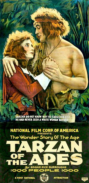 Tarzan in film and other non-print media - Film poster for the first Tarzan movie in 1918, starring Elmo Lincoln