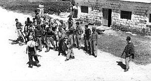 Tel Hai - Members from Yiftach Brigade assembling at Tel Hai prior to the attack on Al-Nabi Yusha'. 1948