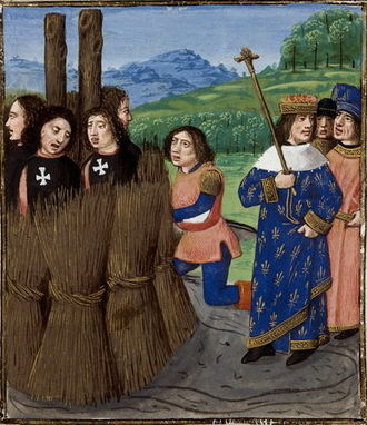 Philip IV of France - Templars burned at the stake. Painting made in 1480.