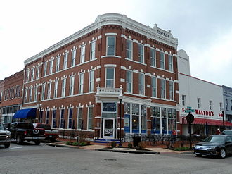 Bentonville, Arkansas - The Terry Block Building is the southwest corner of the Bentonville Town Square. Built in 1888, the building now houses the Walmart Museum, adjacent to the original Walton's Five and Dime.