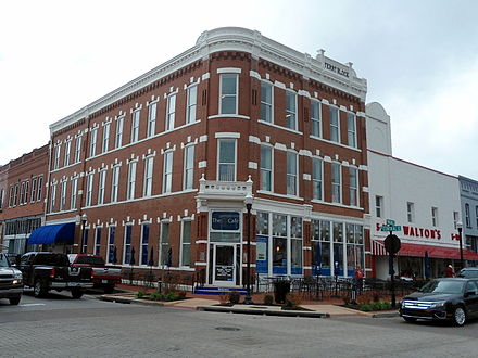 The Terry Block Building is the southwest corner of the Bentonville Town Square. Built in 1888, the building now houses the Walmart Museum, adjacent to the original Walton's Five and Dime. Terry Block Building.jpg