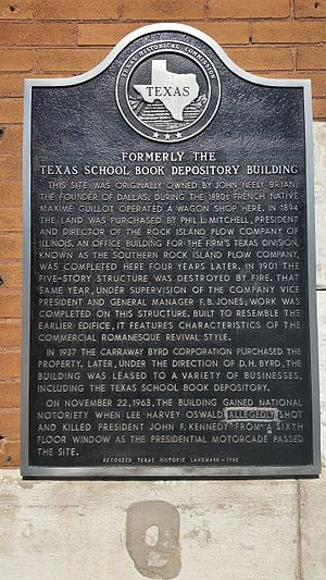 Texas School Book Depository - Texas historical marker for the Texas School Book Depository
