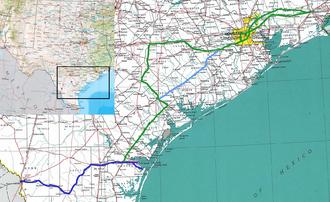 Texas Mexican Railway - Image: Texmex map