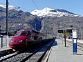 Thalys Neige pour Amsterdam quittant Bourg-St-Maurice (mars 2018).JPG