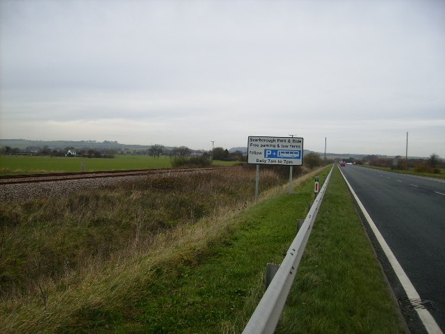 The A64 running parallel with the railway line near Seamer - geograph.org.uk - 282793