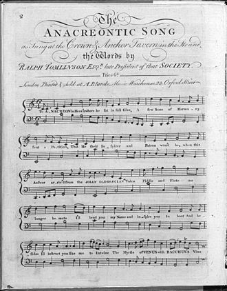 To Anacreon in Heaven - Image: The Anacreontic Song page 1
