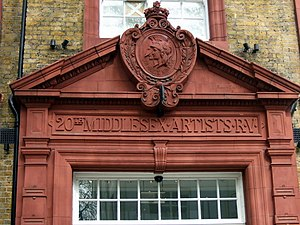 Artists Rifles - Terracotta doorway at the former Artists' Rifles HQ.