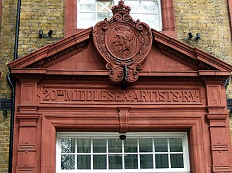 Artists Rifles - Terracotta doorway at the former Artists' Rifles HQ