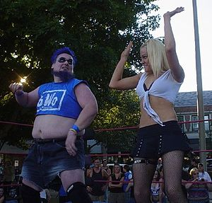 The Blue Meanie - The Blue Meanie (left) and Talia Madison (right) at an independent show in 2005.