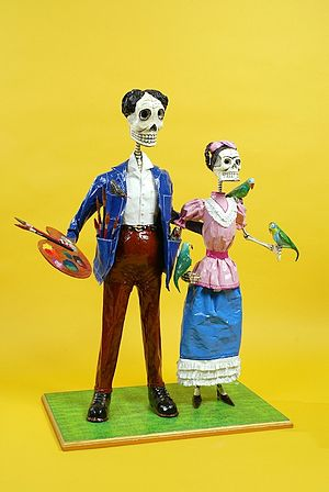 Caplan Collection - Papier mache Day of the Dead sculpture of Frida Kahlo and Diego Rivera