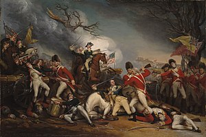 Battle of Princeton -  The Death of General Mercer at the Battle of Princeton, January 3, 1777 by John Trumbull, with Captain William Leslie, shown on the right, mortally wounded