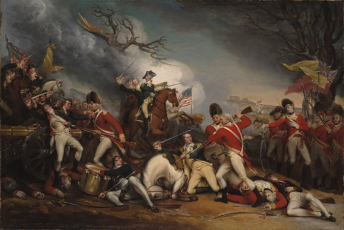 The Death of General Mercer at the Battle of Princeton, January 3, 1777 by John Trumbull, with British Captain William Leslie, shown on the right, mortally wounded