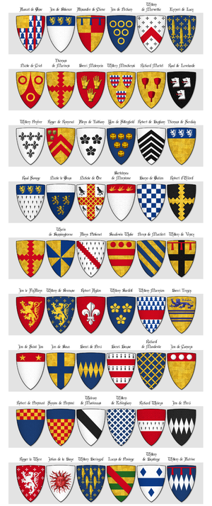 Dering Roll - Image: The Dering Roll of Arms Panel 2 55 to 108