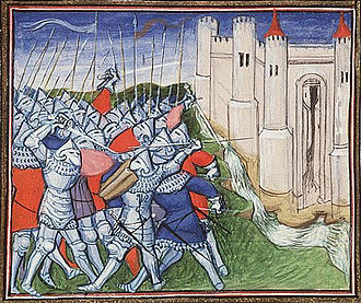 Siege of Calais (1346–1347) - The French defeated before Calais by Edward III. Paris, Virgil Master (illuminator); c. 1410