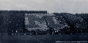 "1907 Michigan Wolverines football team - ""The Human M"" performed at Ferry Field, 1907"