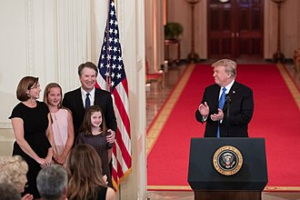 Kavanaugh and his family with President Donald Trump on July 9, 2018 The Kavanaugh family and Donald Trump.jpg