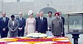 The King and Queen of Belgium paying homage at the Samadhi of Mahatma Gandhi, at Rajghat, in Delhi on November 07, 2017. The Minister of State for Housing and Urban Affairs (IC), Shri Hardeep Singh Puri is also seen.jpg