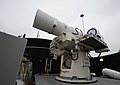 The Laser Weapon System (LaWS) is temporarily installed aboard USS Dewey. (8634864589).jpg