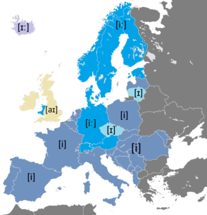 Pronunciation of the name of the letter ⟨i⟩ in European languages