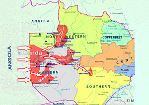Mbunda people - The Mbunda people migration areas from Angola to Zambia, starting in the latter part of the 18th century