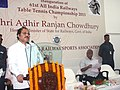 The Minister of State for Railways, Shri Adhir Ranjan Chowdhury addressing at the inauguration of the 61st All India Railways Table Tennis (Men & Women) Championship, in Kolkata on July 26, 2013.jpg