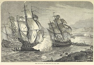 Siege of Derry - HMS Dartmouth fires at shore batteries while Mountjoy rams through the boom.