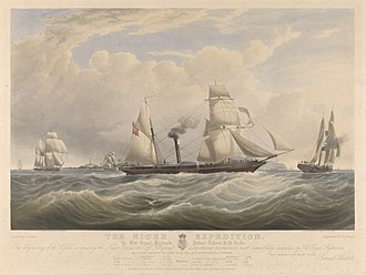 Niger expedition of 1841 - The Niger Expedition - off Holyhead, 1841. HMS Albert also shows HMS Sudan and HMS Wilberforce